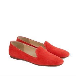 NWOT J.Crew red suede smoking slippers, sz 9.5